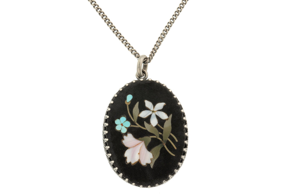 "Antique Silver Pietra Dura Pendant, with 20"" Chain"