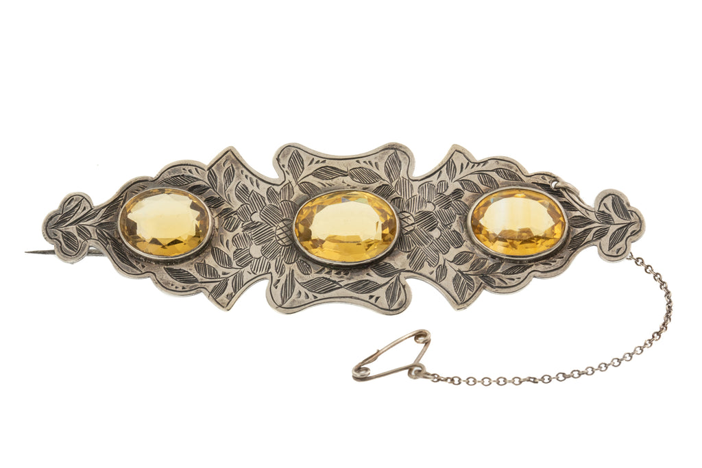 Antique Citrine Statement Silver Brooch, (12.00ct)