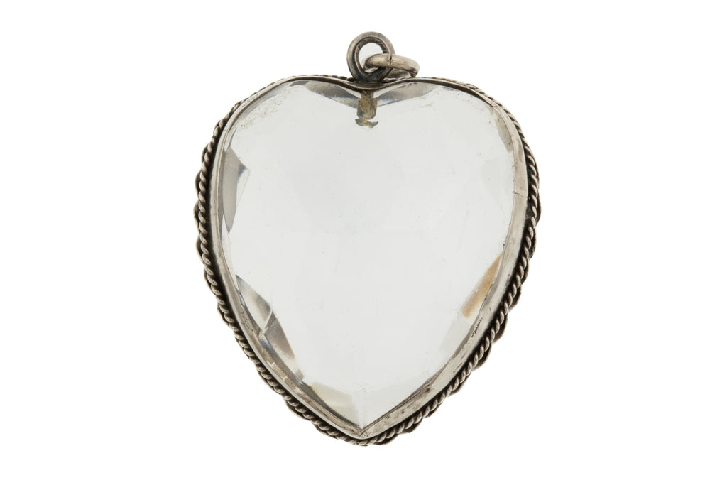 Victorian Silver Faceted Heart Pendant