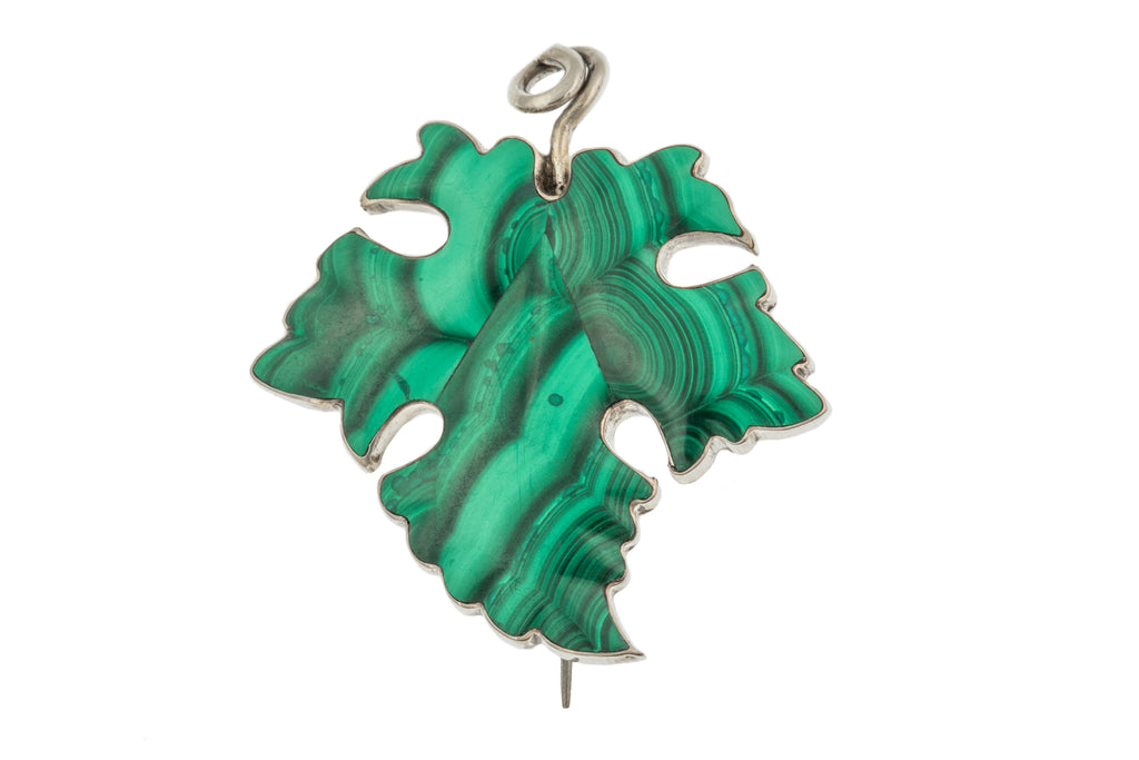 Victorian Malachite Ivy Leaf Brooch