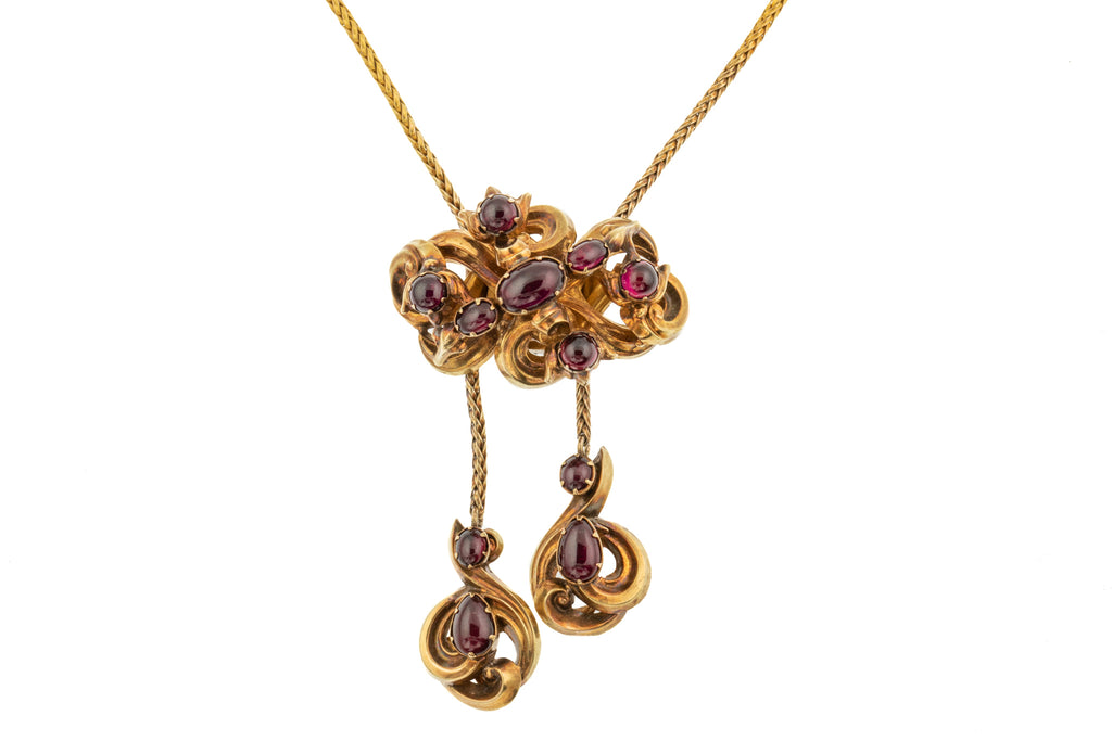 18ct Gold Victorian Garnet Necklace (5.60ct), Slider Mechanism