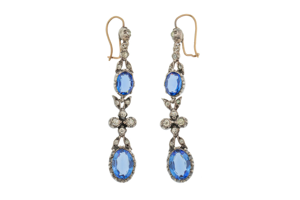 Antique Blue Paste Drop Earrings, 9ct Gold Hooks