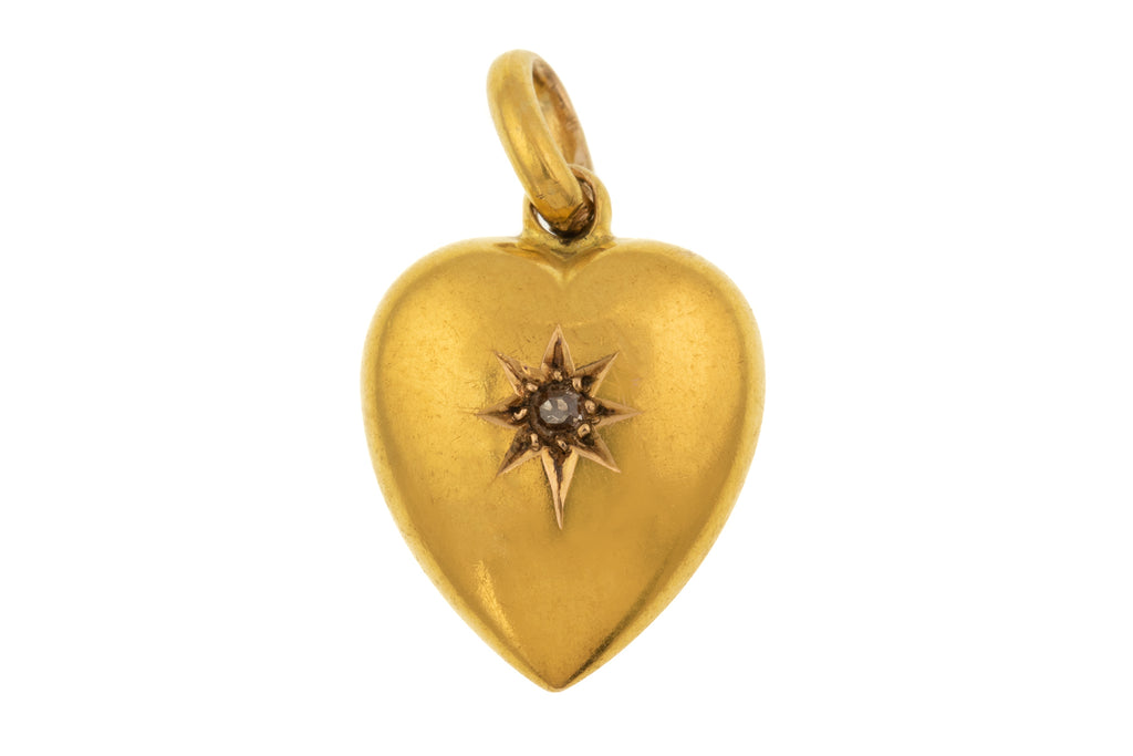 15ct Gold Heart Charm, Diamond Star
