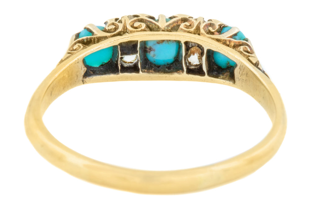 Victorian 18ct Gold Turquoise and Diamond Ring c.1900