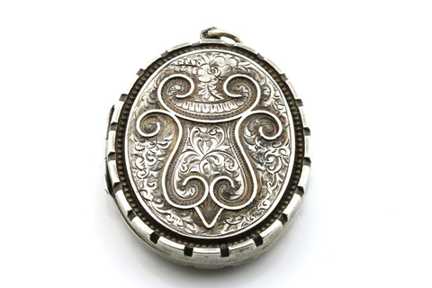 Large Ornate Victorian Aesthetic Silver Locket - c.1884