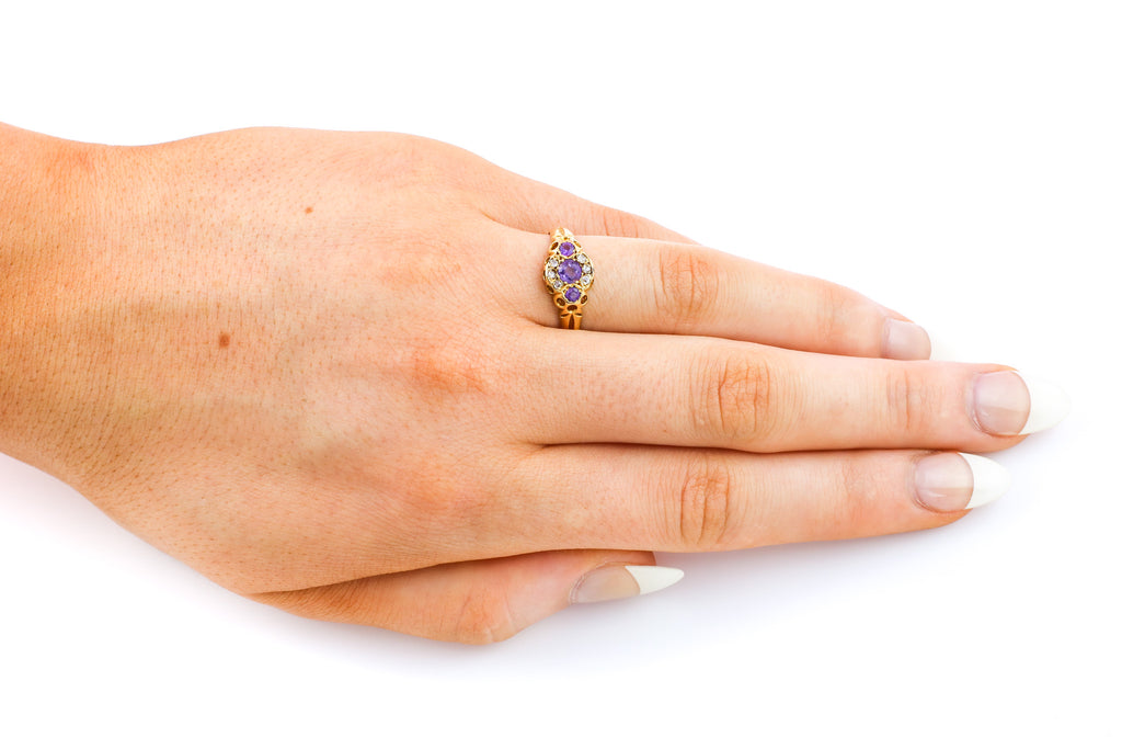 Edwardian 18ct Gold Diamond & Amethyst Ring