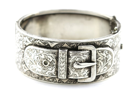 Rare Victorian Silver Bangle with Ornate Buckle Motif - c1885