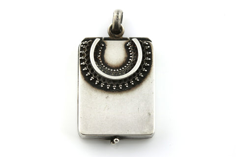 Rare Rectangular Victorian Silver Locket with Lucky Horseshoe - c.1884