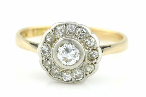 18ct Gold Art Deco Diamond Cluster Engagement Ring- 0.30ct - c.1920