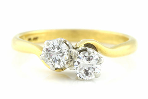 "Art Deco 0.50ct 18ct Gold ""Toi et Moi"" Twin Diamond Ring - Art Deco Diamond Engagement Ring"
