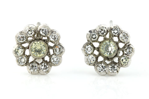 Gorgeous Silver Victorian Paste Flower Cluster Earrings with Screw Backs - c.1860