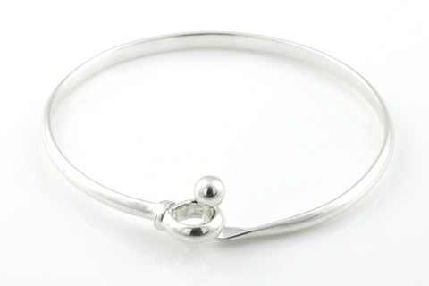 Simple Vintage Silver Hook Clasp Bangle - c.1990