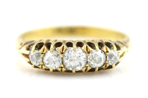 Antique Edwardian 0.60ct Old Cut Diamond 18ct Gold Ring - England c1905