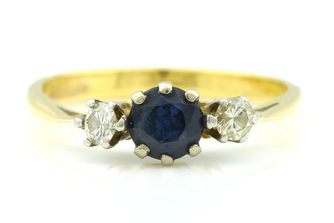 18ct Gold Art Deco Sapphire & Diamond Trilogy Engagement Ring - c.1930