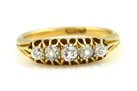 Stunning 18ct Yellow Gold Victorian 5 Stone Diamond Ring - c.1860