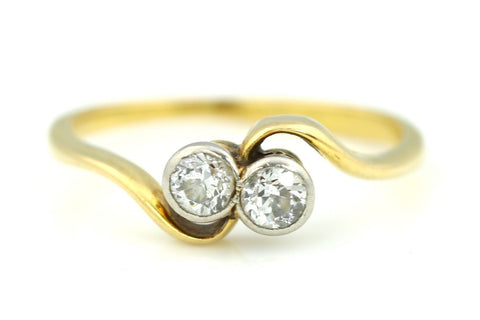 "18ct Gold Art Deco ""Toi Et Moi"" Twin Diamond Engagement Ring (0.25ct) - c.1920"