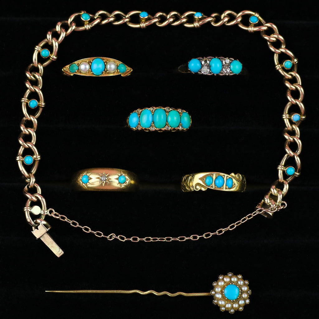 Antique 9ct Gold Bracelet with Turquoise c.1900
