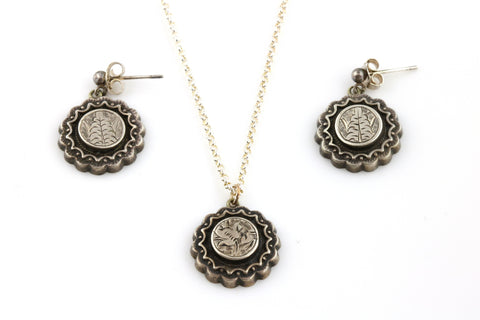 Sweet Victorian Silver Pendant and Earrings Set - c.1880