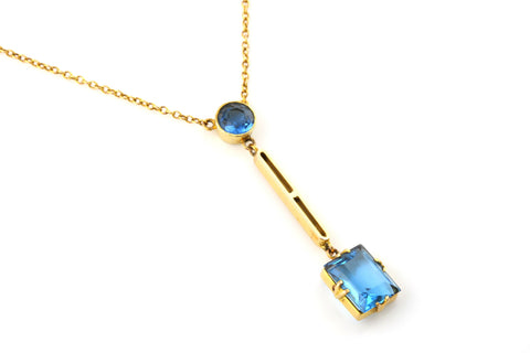 Stunning Mid-Century 9ct Gold & Blue Paste Lavalier Necklace - c.1950
