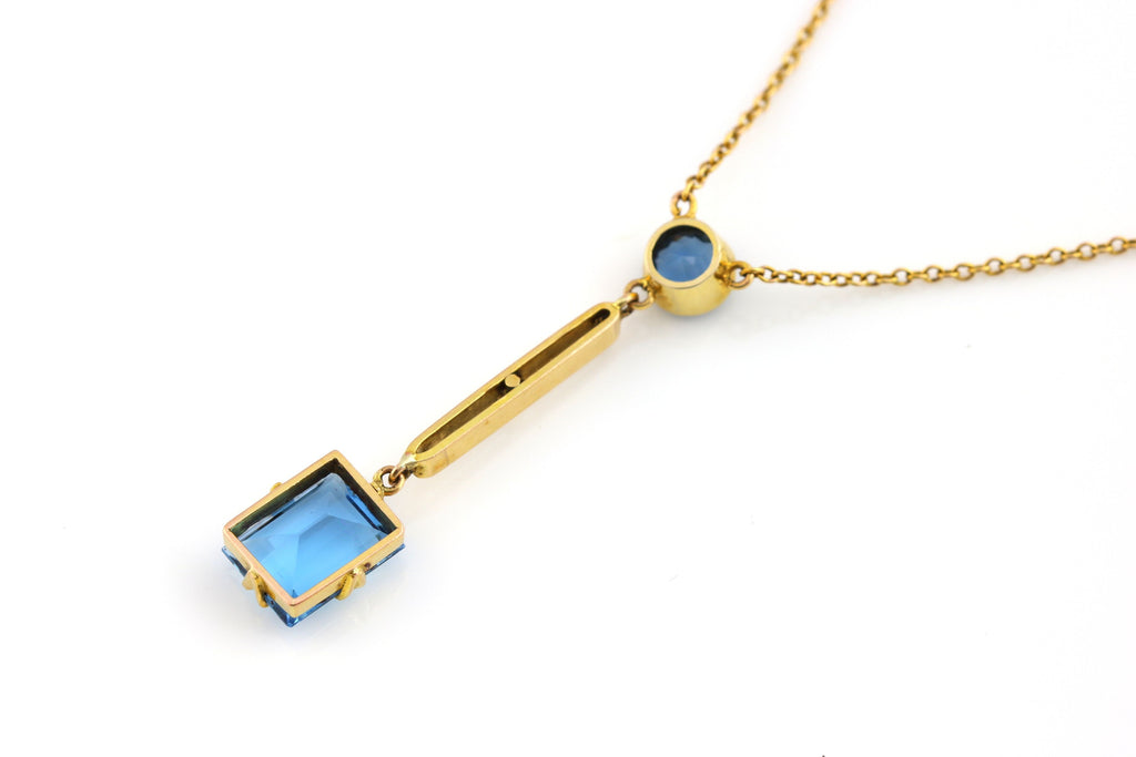Vintage 9ct Gold Paste Lavalier Necklace c.1950