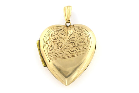 Beautiful Victorian 9ct Gold Heart Locket & Chain - c.1850
