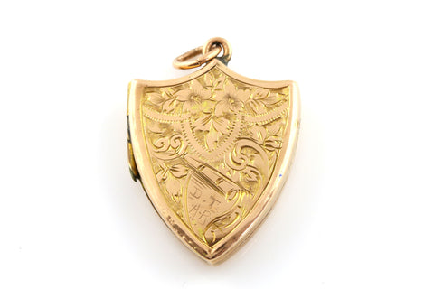 Solid 9ct Rosy Gold Edwardian Shield Locket - Chester c.1906