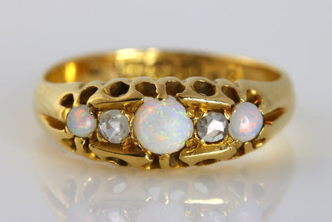 18ct Yellow Gold Art Deco Opal and Diamond Ring- c.1920
