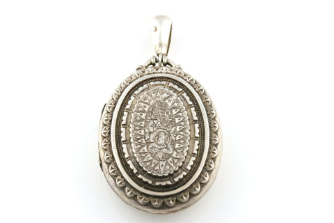 Gorgeous Antique Victorian Aesthetic English Silver Locket -c.1881