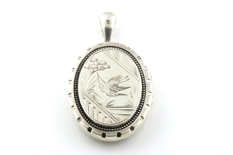 Outstanding Antique Locket with Sweet Bird in Flight - c.1880