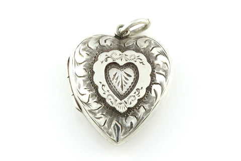 Rare Chester Hallmark Antique Silver Heart Locket - c.1906