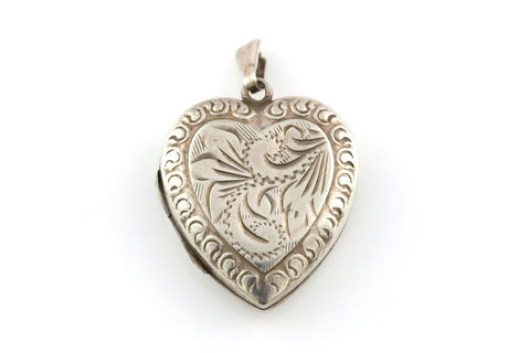 Romantic Mid-Century Silver Heart Locket - Circa 1950