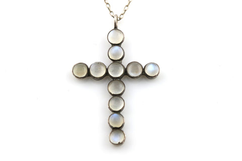 Gorgeous Antique Silver Moonstone Cross Pendant with Chain - c.1890