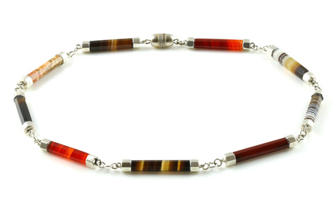 Stylish Antique Silver and Natural Agate Necklace - c.1850