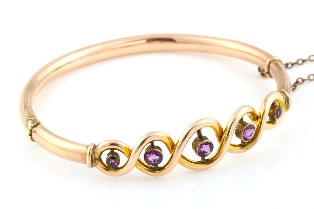 Art Nouveau Amethyst Bangle in Rose Gold c.1890