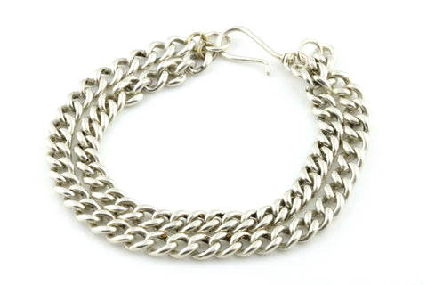 Converted Antique Silver Albert Chain Double Bracelet - c.1900