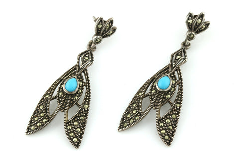 Vintage Silver Marcasite & Turquoise Art Nouveau Style Drop Earrings