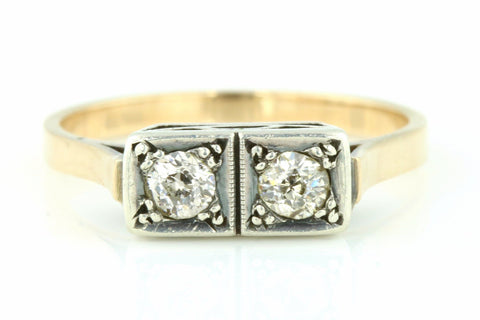 Stunning Art Deco 18ct Rose & White Twin Diamond Ring, (with Old European Cut Diamonds) - c.1930