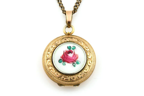 Sweet Vintage Enamel Rose Locket with Chain - c.1930