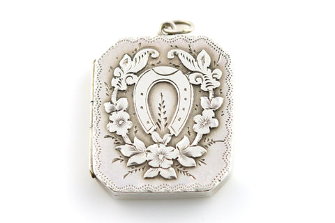 Rare Rectangular Victorian Silver Locket with Lucky Horseshoe - c.1889