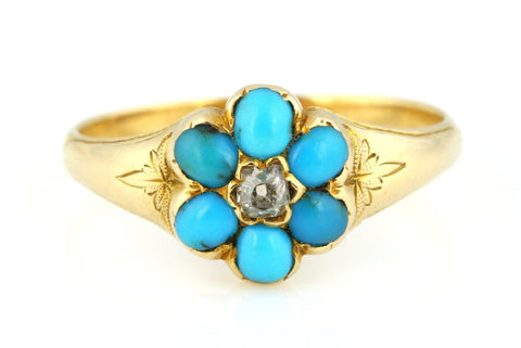 Heavy 18ct Gold Georgian Turquoise and Diamond Cluster Ring - c.1830