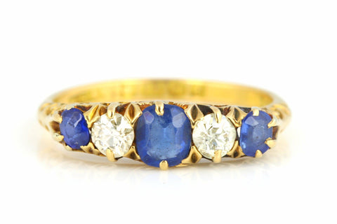 Sumptuous Sapphire & Diamond 18ct Gold Antique Boat Ring - c.1905