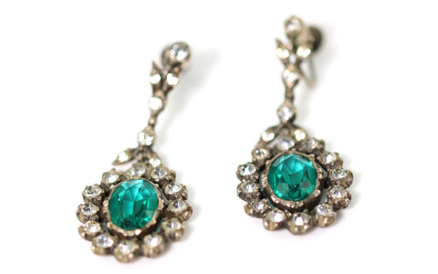 Antique Edwardian Emerald Green Drop Earrings-Circa 1800 - Lillicoco - 1