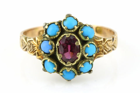 Rare 12ct Gold Victorian Turquoise & Garnet Cluster Ring - Circa 1870