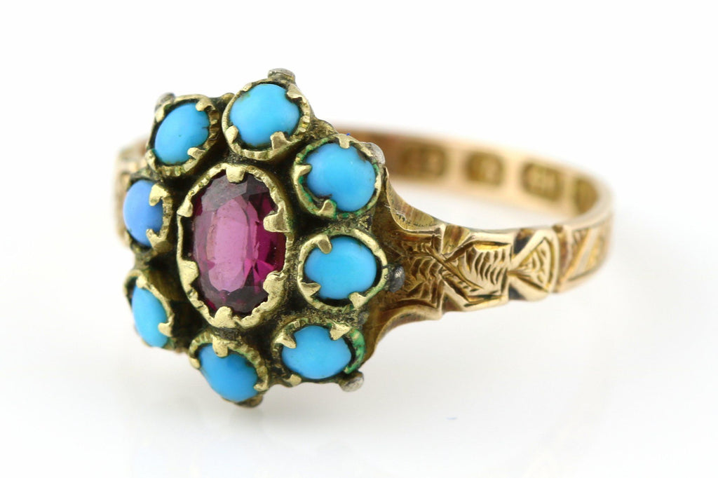 Rare 12ct Gold Victorian Turquoise & Garnet Cluster Ring - c.1870