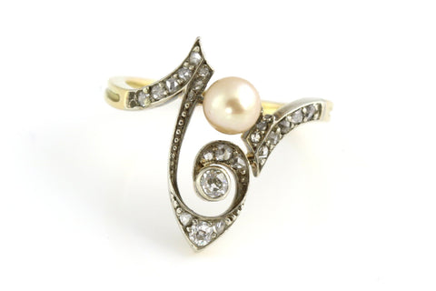 Magical Art Nouveau 9ct Gold, Diamond and Pearl Ring - c.1890