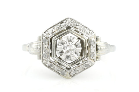 Stunning 14ct White Gold Art Deco Diamond Cluster Ring c.1920