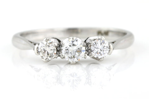 Fine Art Deco Platinum Diamond Trilogy Ring, 0.50ct - Circa 1920