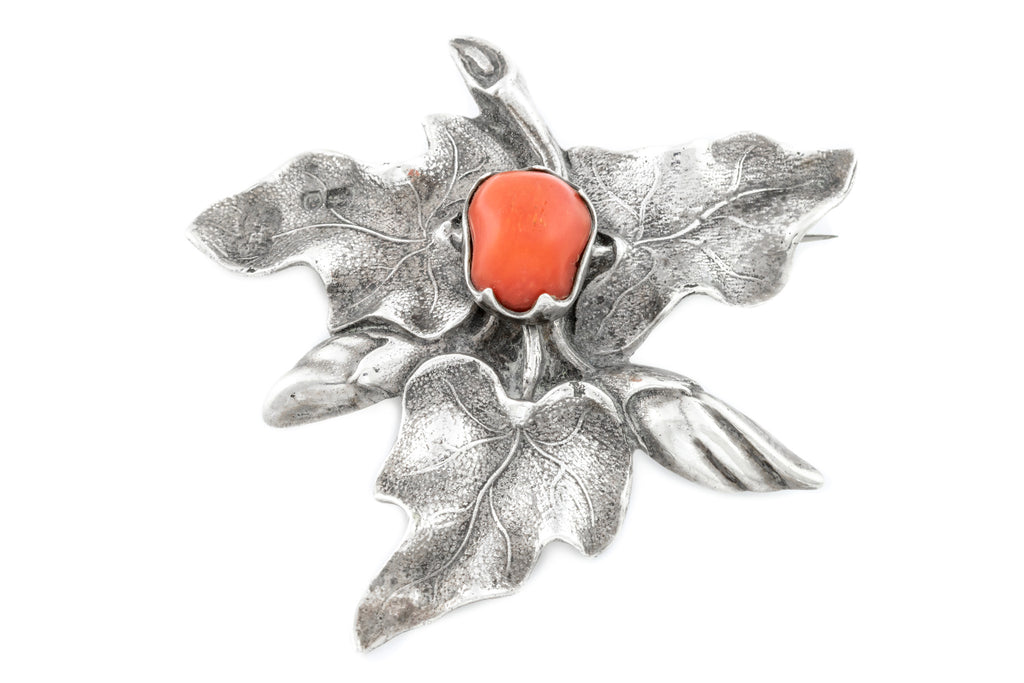 Large Silver Art Nouveau Leaf Brooch with Coral Cabochon