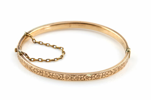 Pretty Rose Gold Back and Front Hinged Bangle - c.1950