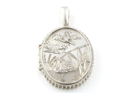 Rare Victorian Aesthetic Silver Locket with a Beautiful Wildlife Scene - c.1880